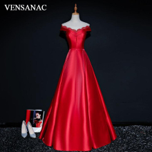 VENSANAC 2018 Vintage V Neck A Line Sequined Long Evening Dresses Elegant Short Cap Sleeve Satin Party Prom Gowns