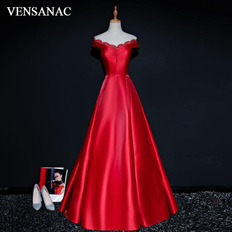 VENSANAC 2018 Vintage V Neck A Line font b Sequined b font Long Evening font b