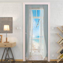 Съемные Наклейки на двери, европейские 3D пейзажи на море, водонепроницаемые, для гостиной, спальни, двери, 3D обои, самоклеющиеся наклейки на стену