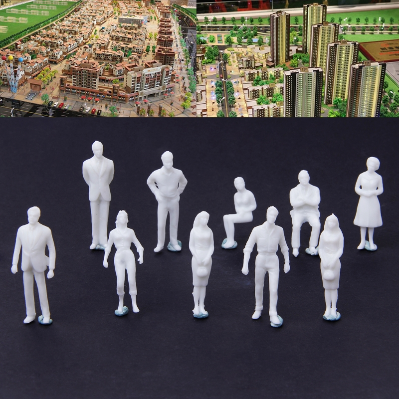 10Pcs 1:50 Scale Model Miniature White Figures Human Model Architectural Model