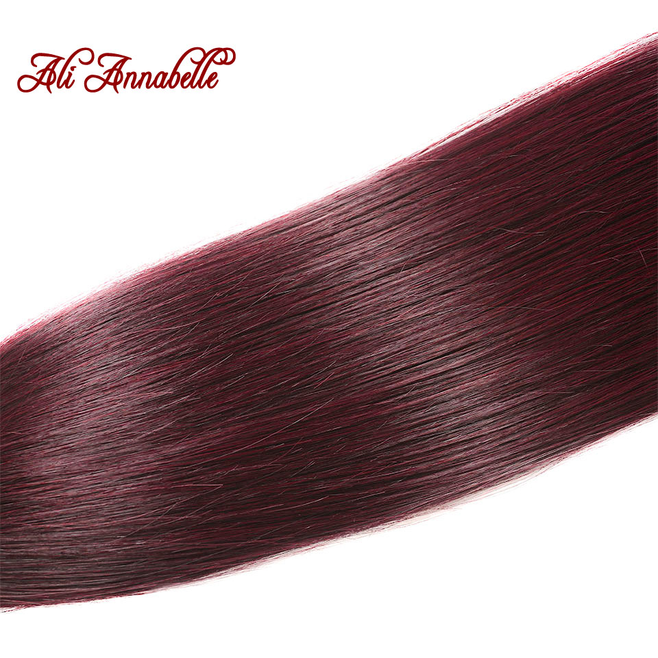 ALI ANNABELLE HAIR 1b/99j Ombre Human Hair Bundles with Closure Brazilian Straight Hair 3 Bundles with Closure 100% Remy Hair