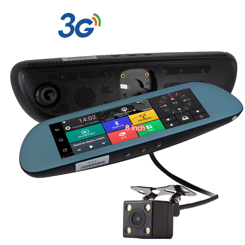 8 3g android 5 car dvr camera gps navigation video recorder bluetooth dual lens wifi rearview mirror camcorder dash cam hd1080p in dvr dush camera from