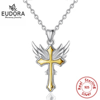 EUDORA 925 Sterling Silver Gold Color Angel Wing & Cross Pendant Necklace Silver Link Chain Fashion Women Fine Jewelry CYD395