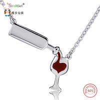 Love Heart Necklaces Pendants 925 Sterling Silver For Women Silver Wine Bottle Cup Chain Necklace Girl