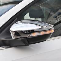 ABS Chrome For JETTA MK6 2015 2016 2017 2018 Car rearview mirror block rain eyebrow Cover Trim Car Styling Accessories 2pcs