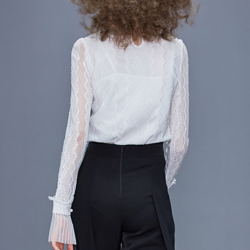 Européenne 2019 été automne nouvelles modes femmes hauts et Blouse manches longues Sexy dentelle couleur unie col montant chemise blanche A288 - 3