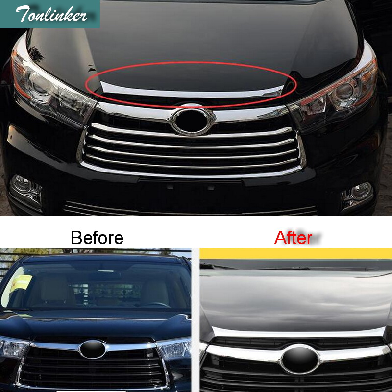 Tonlinker 1 PCS DIY Car styling ABS chrome Machine bonnet bright stickers case Stickers for TOYOTA HIGHLANDER 2015 accessories