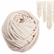 Natural Beige Cotton Twisted Cord 6mm X 30m Macrame Rope Artisan Hand DIY Sewing Craft Drawstrings Christmas Party Decor