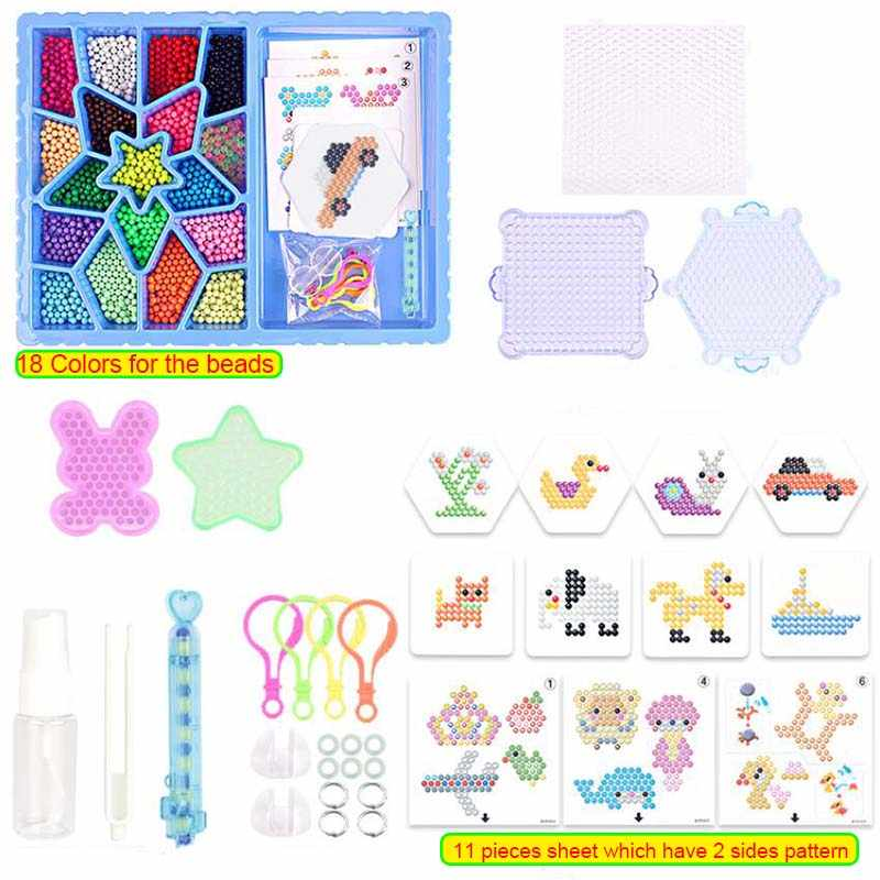 [Hanya Menambahkan Air] Zaman Manik-manik 18 Warna Kit Lengket Perler Beados Papan Pasak Set Sekering Manik-manik Jigsaw Air Beads bond Mainan Puzzle