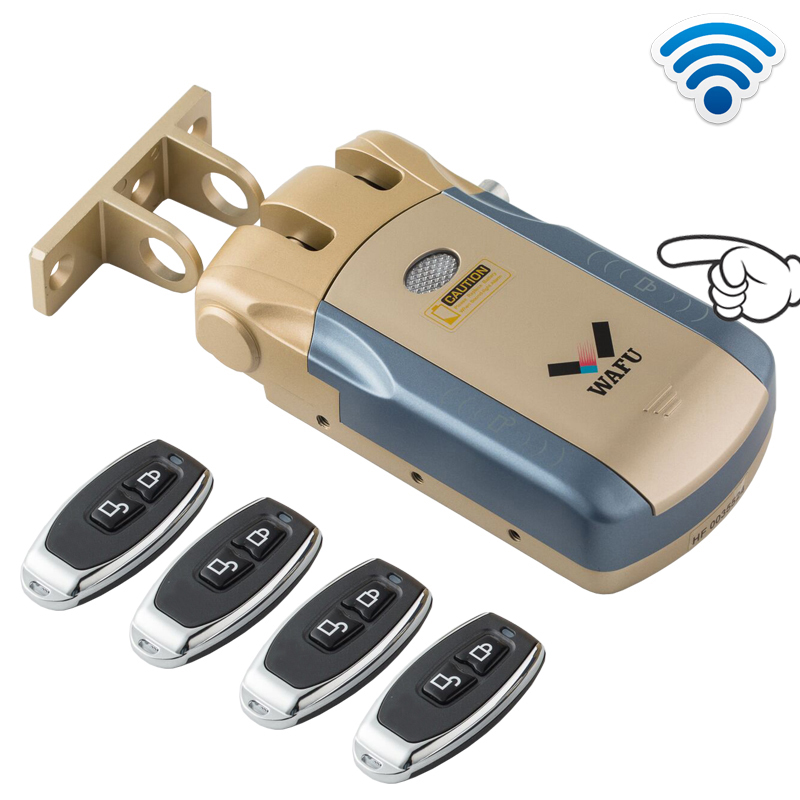 Wafu 010 Wireless Electronic Door Lock Keyless Invisible Intelligent Lock With Touch Locked amp Unlock Button 4 Remote Control Keys