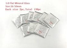 Оптовая продажа, плоское минеральное стекло для часов 138cs толщиной 1,0 мм, выберите размер от 16 мм до 50 мм для часовщиков и ремонта