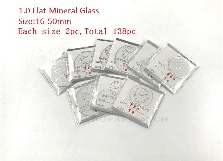 Venta al por mayor 138cs 1,0 MM de espesor de vidrio plano reloj mineral tamaño selecto de 16mm a 50mm para relojeros y reparación de relojes