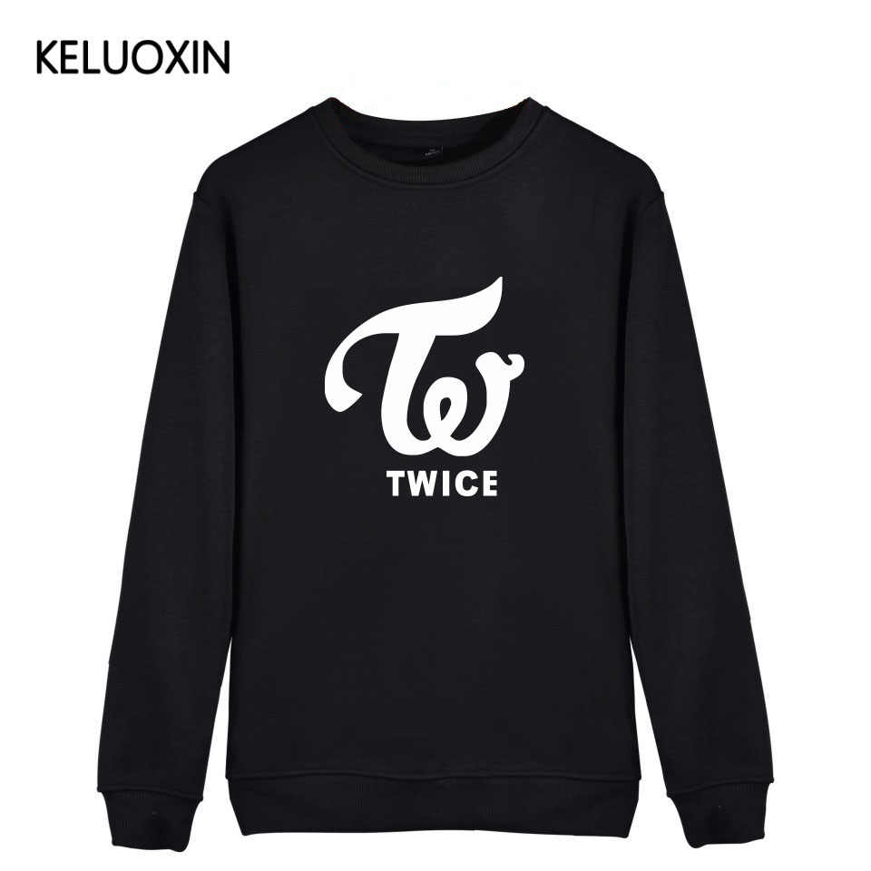 KELUOXIN Streetwear New Arrival Black White Pink Kpop TWICE Latter Print Hoodies For Men Women Momo Sana Mina Sweatshirt Fans