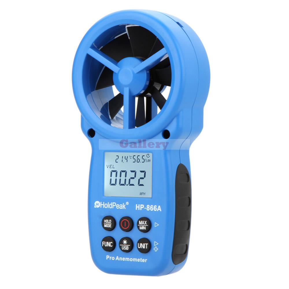Holdpeak Hp-866a Lcd Digital Anemometer Air Volume Wind Speed Area Temperature Humidity Meter Tester Measurement with Usb az8904 handheld digital anemometer wind speed meter wind speed tester electronic measuring instruments air volume meter
