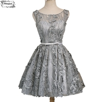 Summer Vintage Lace Short Bridesmaid Dresses 2017 Above Knee A Line Sliver Grey Cheap Wedding Party
