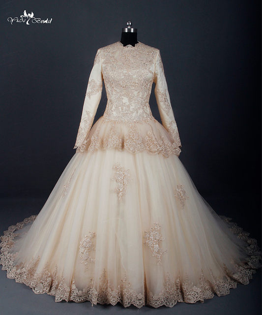 Online shop rsw783 champagne long sleeve muslim wedding dress rsw783 champagne long sleeve muslim wedding dress islamic wedding gowns junglespirit Image collections