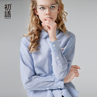 Toyouth Summer Autumn Blouse Woman Blue Striped Cotton Blouse Fashion Letter Embroidery Work Wear Long Sleeve