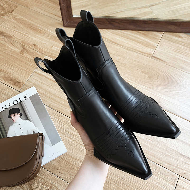 ISNOM batı yarım çizmeler kovboy kadın patik moda sivri burun ayakkabı kadın kalın topuklu küba deri ayakkabı bayanlar sonbahar