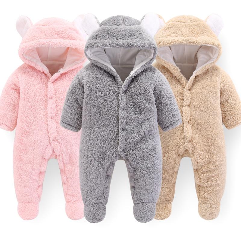 2019 outono novo macacão recém-nascido do bebê meninos meninas dos desenhos animados roupas de poliéster infantil do bebê inverno quente outwear hoodie pijamas