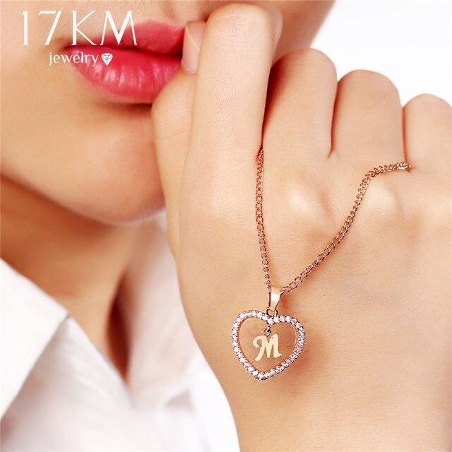 17 км Мода DIY письмо пользовательских кулон ожерелья для женщин девушка с длинными розовое золото Щепка Сердце ожерелье себе ювелирные изделия подарки