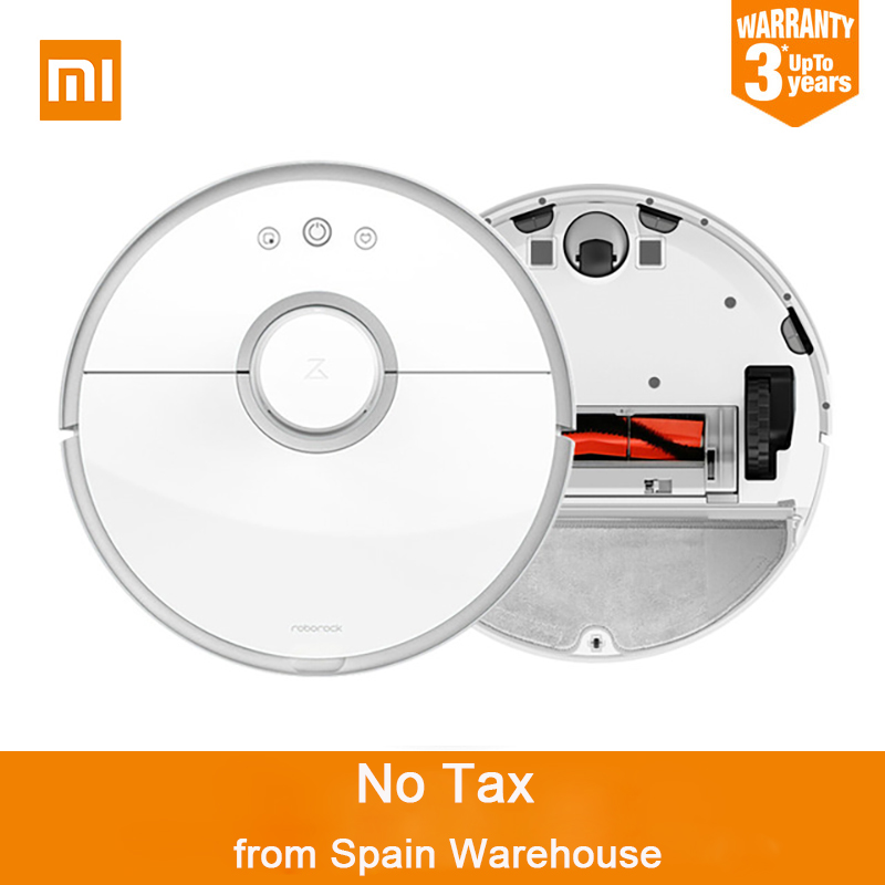 Spain Stock Original Xiaomi Roborock S50 S55 Robot Vacuum Cleaner 2 Dust Sterilize Smart Planned Sweeping Wet Mop APP Control 2017 new original xiaomi mi robot vacuum cleaner roborock s50 for home automatic sweeping dust sterilize mop smart planned wifi