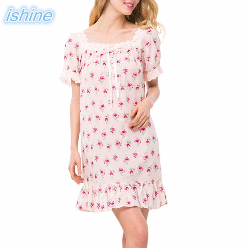 Women Nightgowns 100% Cotton Nightwear 2018 Summer Dress Casual Loose Printed Nightdress Female Nightshirt Women's Sleepwear