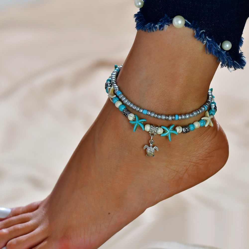 2019 czeski plaża Enkelbandje niestandardowe łańcuszek na kostkę łańcuch Boho żółw koraliki kostki powłoki biżuteria na nogi stóp powłoki bransoletka kobiety