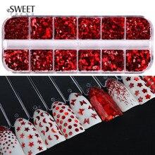 1 ensemble Sexy rouge ongles paillettes Triangle/rond/étoile 3d brillant ongles paillettes flocons miroir manucure conseils Nail Art décorations LA027