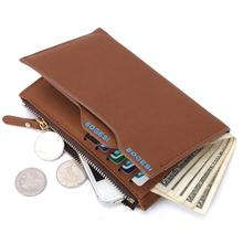 2015 nuevo cuero cuero marca hombres multifuncional corto diseño hombre monedero cremallera portamonedas tarjeta monedero