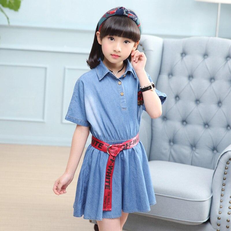 Kids Dresses For Girls Summer Toddler Girl Dresses Casual Girls Dress Newest Kids Denim Dress Girl for 6 8 10 12 13 14 years
