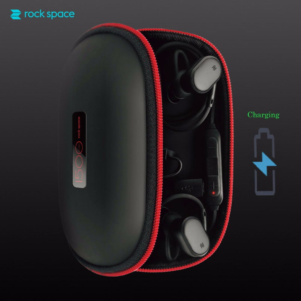 ROCKSPACE Portable Charging Earphone Case for Bluetooth Earphone Smart Watch Carrying Black Bag Charge Storage Case with Battery rockspace eb30