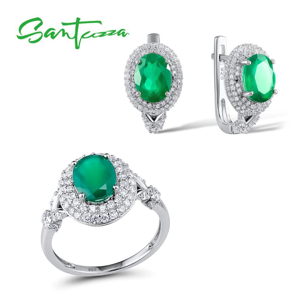 Santuzza Jewelry Set Women Green CZ Stones Jewelry Set Earrings Ring Set Jewelry 925 Sterling Silver Fashion Jewelry Sets браслет с брелоками seendom jewelry 925 pulseiras cz xoxo pbs105