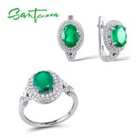 Santuzza Jewelry Set Women Green CZ Stones Jewelry Set Earrings Ring Set Jewelry 925 Sterling Silver Fashion Jewelry Sets