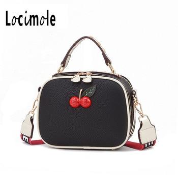 Locimole Cherry Decorate Women Handbag Casual Panelled Sweet Women Shoulder Messenger Bag Small Circle bolso mujer BIW251 PM49 grande bolsas femininas de couro