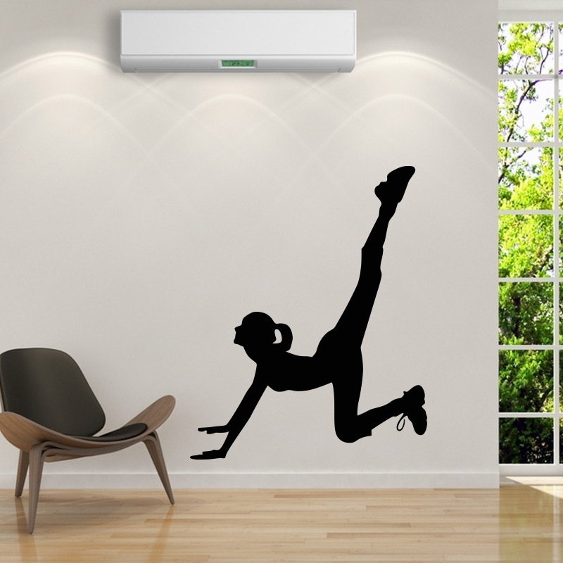 Cartoon Yoga Room Art Wall Sticker Woman Wall Decal Ornament Indian Living Room Modern StyleHome Office GYM Dorm Club Decor