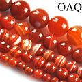Оптовая продажа 6/8/10/12 мм 15 ''натуральный красный полосатый сердолик камень оникс круглый шар свободные шарики способа изготовления ювелирных изделий - фото