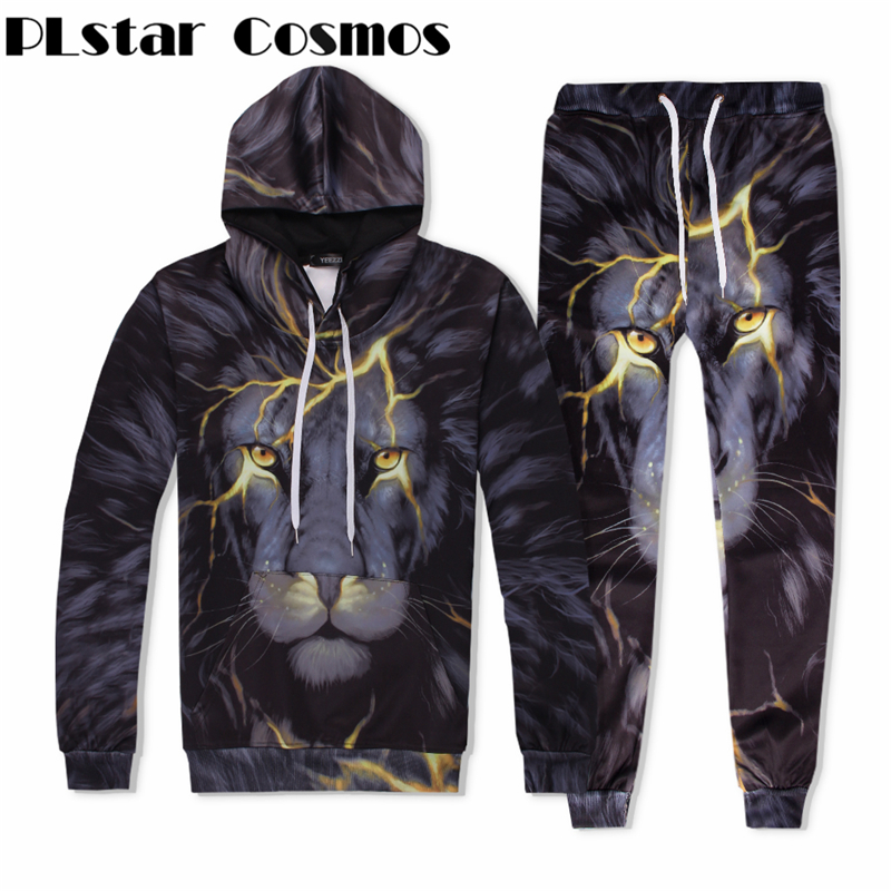 PLstar Cosmos brand Lightning lion sweats tracksuit men women winter casual clother 3d hoodies&pants 2 pieces size S-XXL
