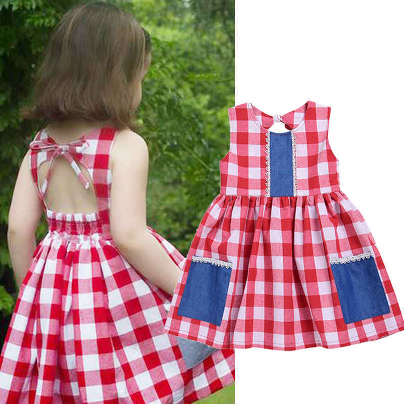e8f438f4c41df Kids Toddler Baby Girl Clothes Country style Dress Summer Party Plaid  Pocket Sleeveless Dresses New