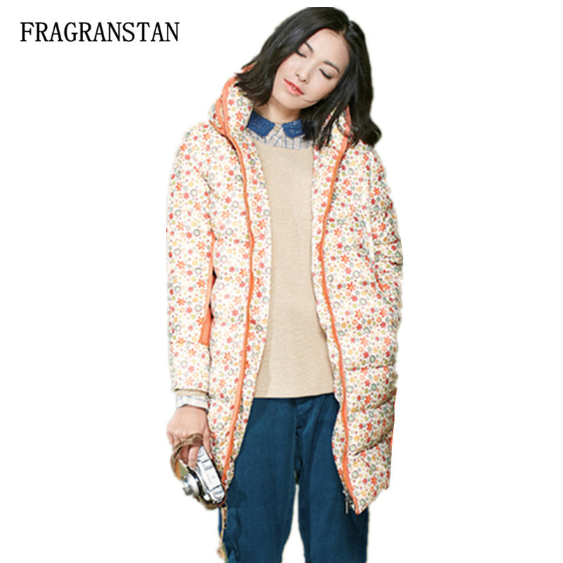 Women Winter Flowers Pattern Printed Thicken Warm Down Jacket Female New Fashion Casual Loose Hit Color Sweet Long Parkas JQ288