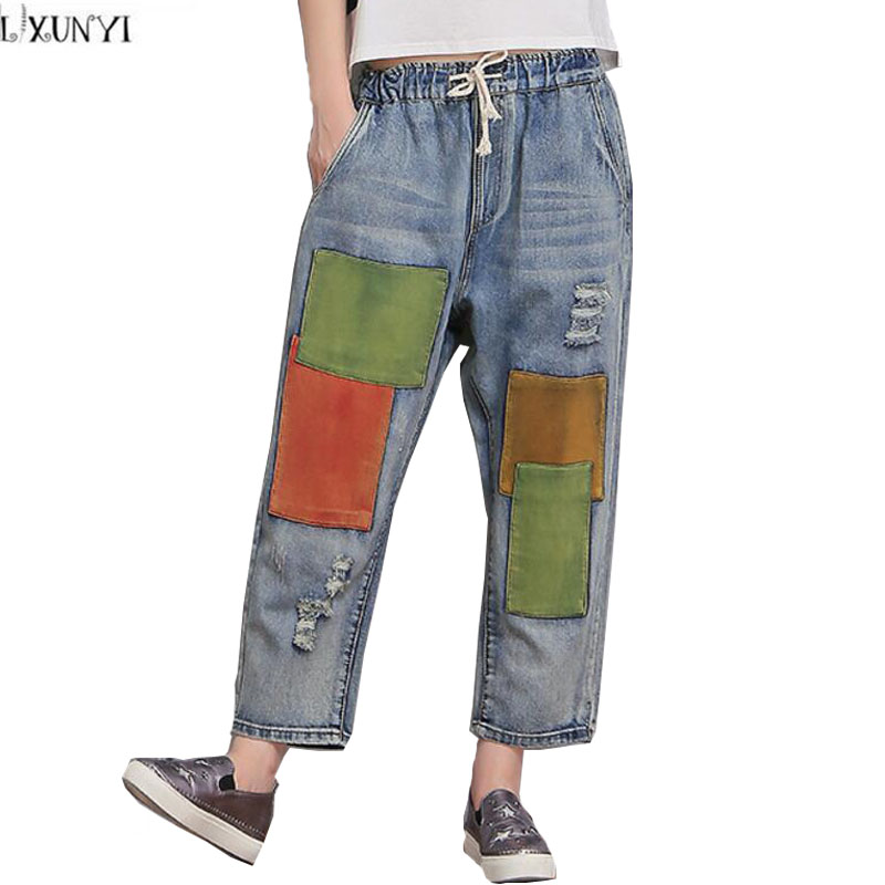 Plus Size Patch Ripped Denim Pants Boyfriend jeans For Women 2017 New Elastic Waist  jeans Loose Wholesale Ankle Length Pants 40 2017 new jeans women spring pants high waist thin slim elastic waist pencil pants fashion denim trousers 3 color plus size