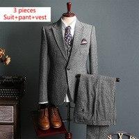 Бренд Для мужчин костюмы шерстяная куртка с брюки Свадебные Жених работы Для мужчин s комплект из 3 предметов костюмы костюм Homme (пиджак + брю