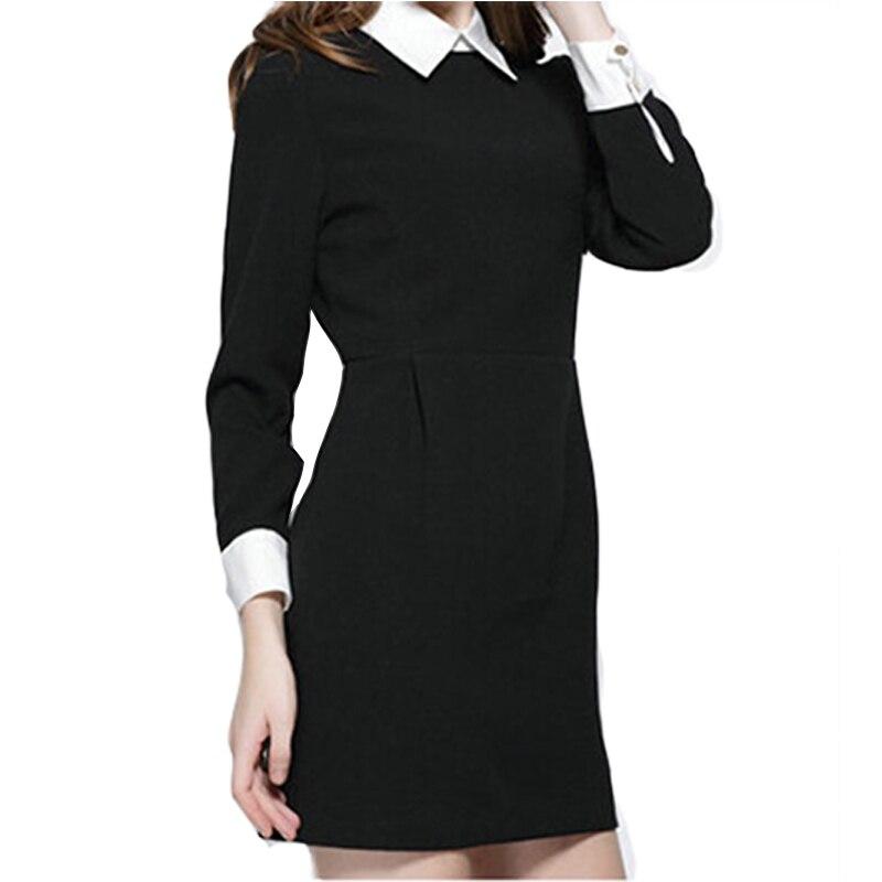 Invierno moda mujeres oficina vestido negro con cuello blanco Delgado Ocasional