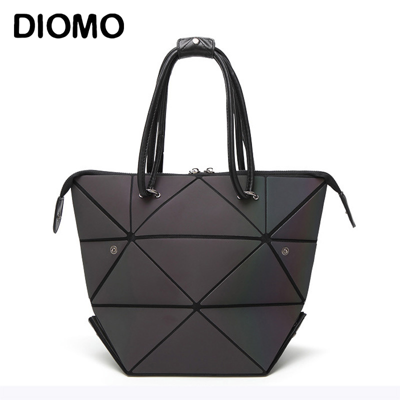 DIOMO Luxury Female Designer Luminous Deformation Folding Diamond Handbag Geometric Rhombic Fashion Shoulder Bag for WomenDIOMO Luxury Female Designer Luminous Deformation Folding Diamond Handbag Geometric Rhombic Fashion Shoulder Bag for Women