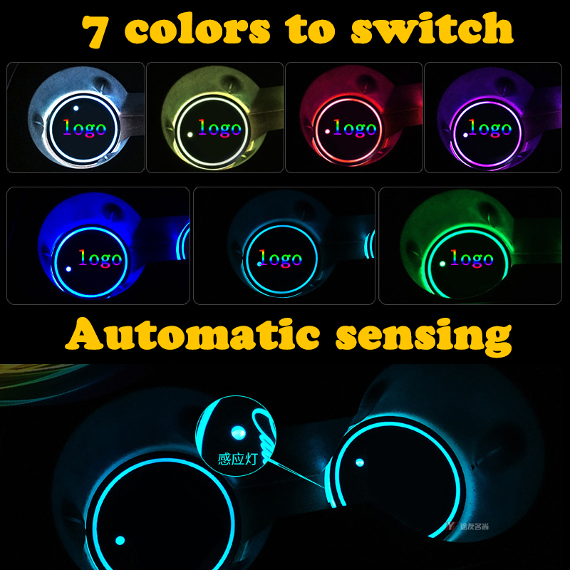 2 Pcs 7 Colors LED Light USB Charge Car Cup Holder Bottom Pad Covers Waterproof