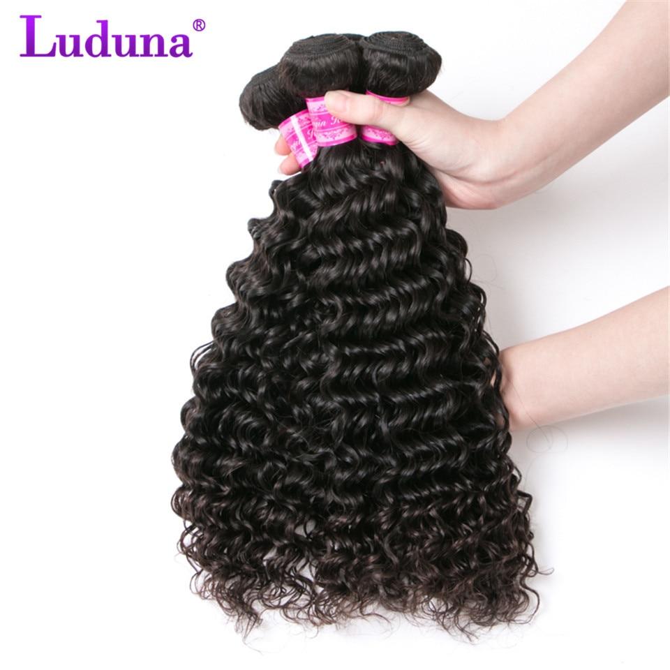 Luduna волосы бразильский глубокая волна 3 Связки 100% Человеческие волосы Связки Natural Цвет бразильский пучки волос плетение Дело Волосы Remy