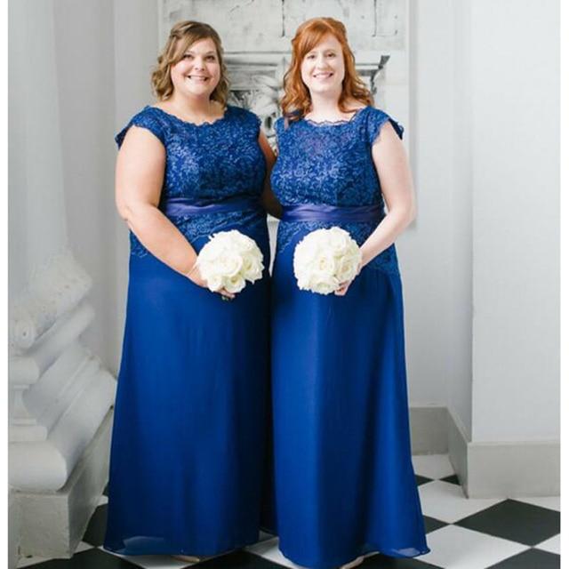 Plus Size Lace Blue Bridesmaid Dresses Long Chiffon Beach Wedding