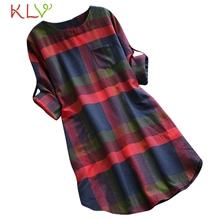 Dress Women Plaid Loose Pocket Vintage Elegant Big Size Mini Long Sleeve Dress For Party Night