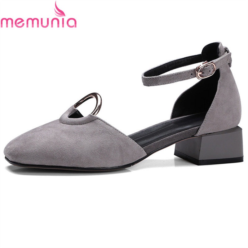 MEMUNIA 2018 fashion spring autumn shoes woman square toe buckle casual square heel pumps women suede leather shoes med heels xiaying smile woman sandals summer square cover heel closed toe woman pumps buckle strap fashion casual hollow flock women shoes
