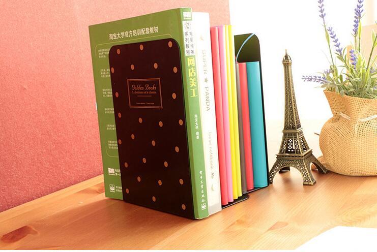 Metal Polka Dot Bookends Black White Dot Desk Book Organizer
