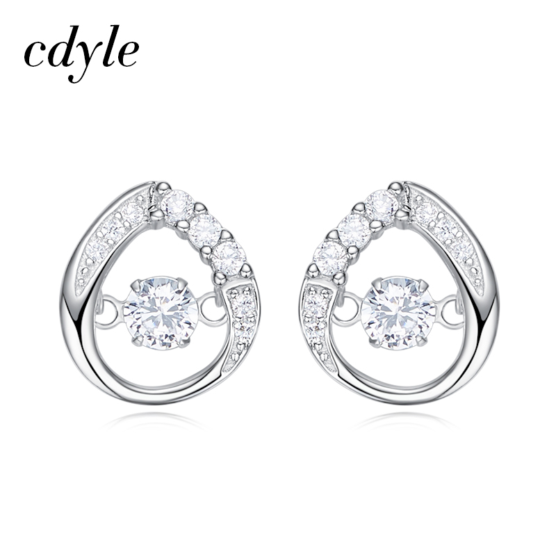 Cdyle Women Wedding Earrings Dancing Stone Stud Earring Austrian Rhinestone  paved S925 Sterling Silver Fashion Jewelry Bijous -in Stud Earrings from  Jewelry ... ee5d2dc18170